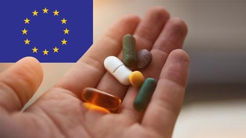 médicaments et drapeau européen