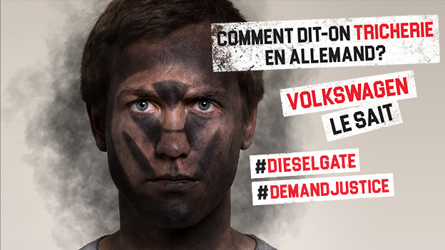 Action Dieselgate visage noirci par la pollution