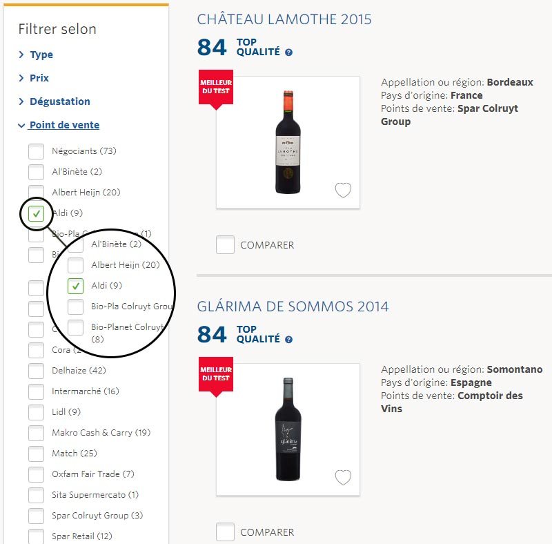 comparateur vin aldi